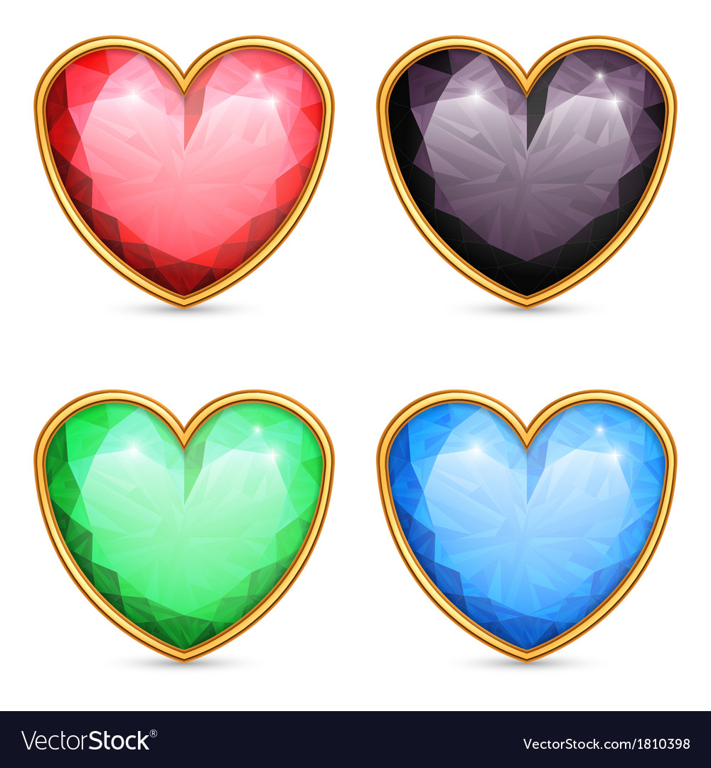 Heart shaped gems vector | Price: 1 Credit (USD $1)