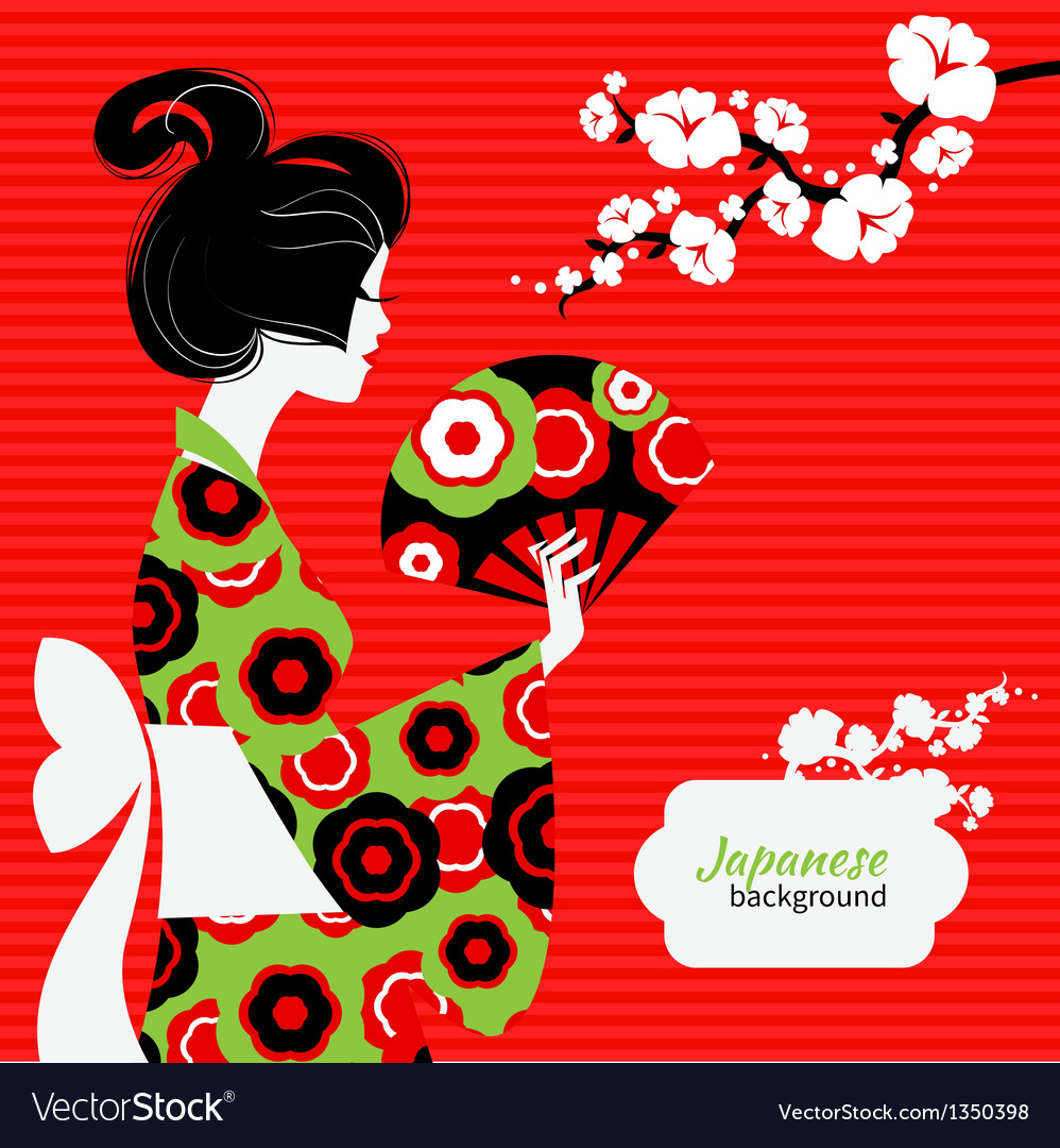 Japanese girl silhouette vector | Price: 1 Credit (USD $1)