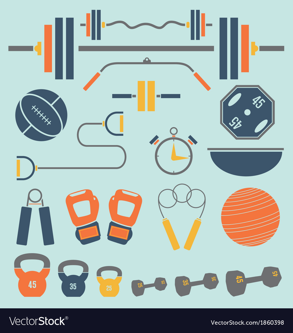 Retro color flat gym and workout equip vector | Price: 1 Credit (USD $1)
