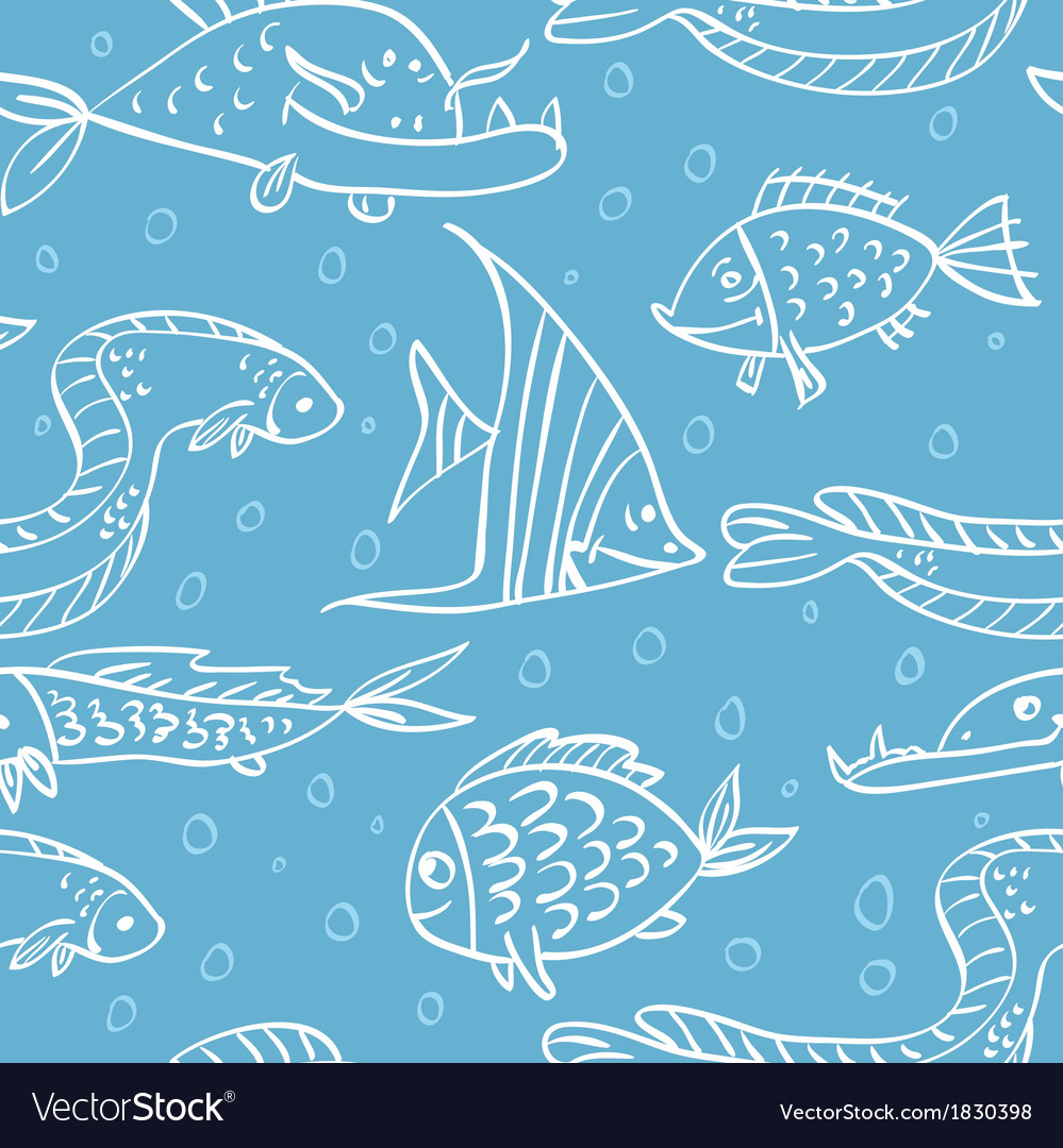 Seamless pattern with fish in the sea vector | Price: 1 Credit (USD $1)