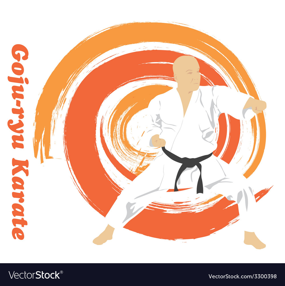 The the man is engaged in karate on a bright vector | Price: 1 Credit (USD $1)