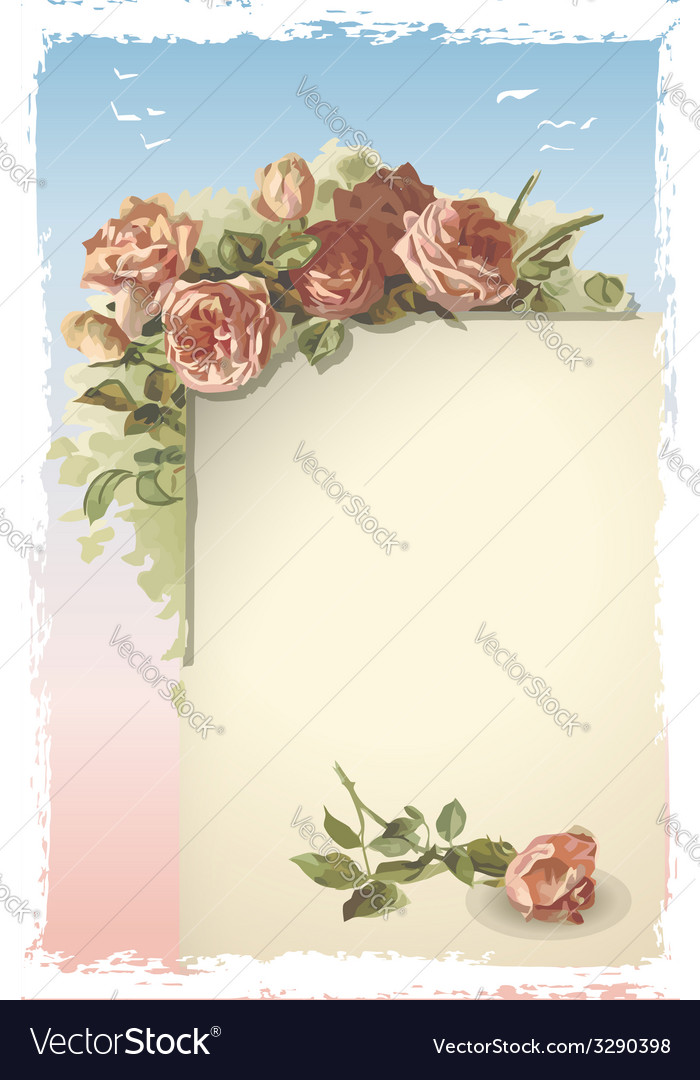 Vintage roses ornament on old page vector | Price: 3 Credit (USD $3)