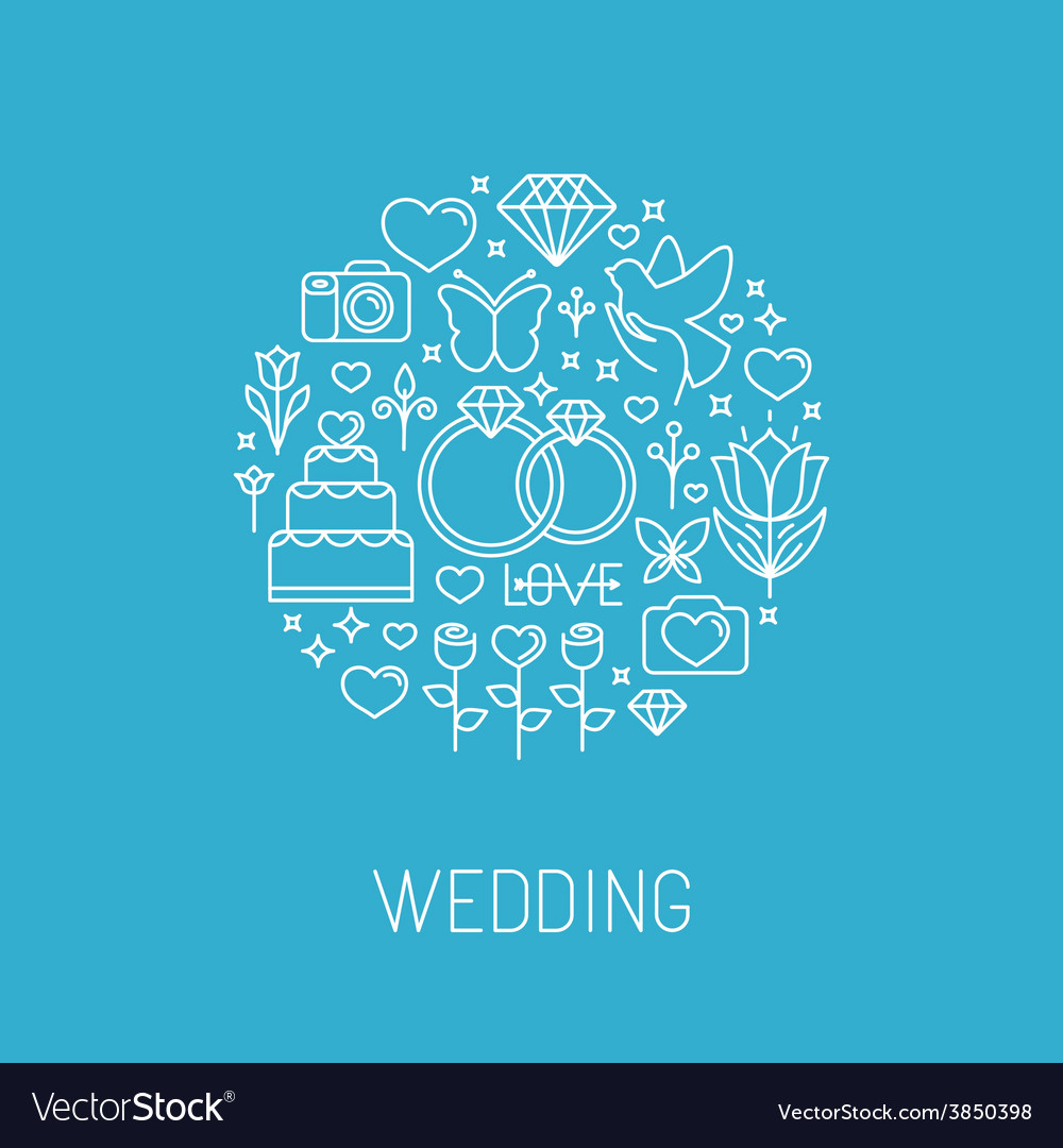 Wedding emblem in outline style vector | Price: 1 Credit (USD $1)