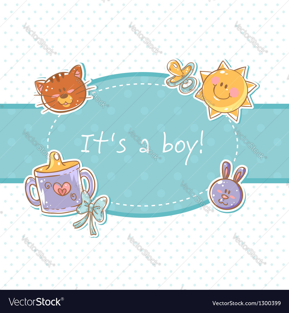 Baby born sweet boy congratulation postcard vector | Price: 1 Credit (USD $1)