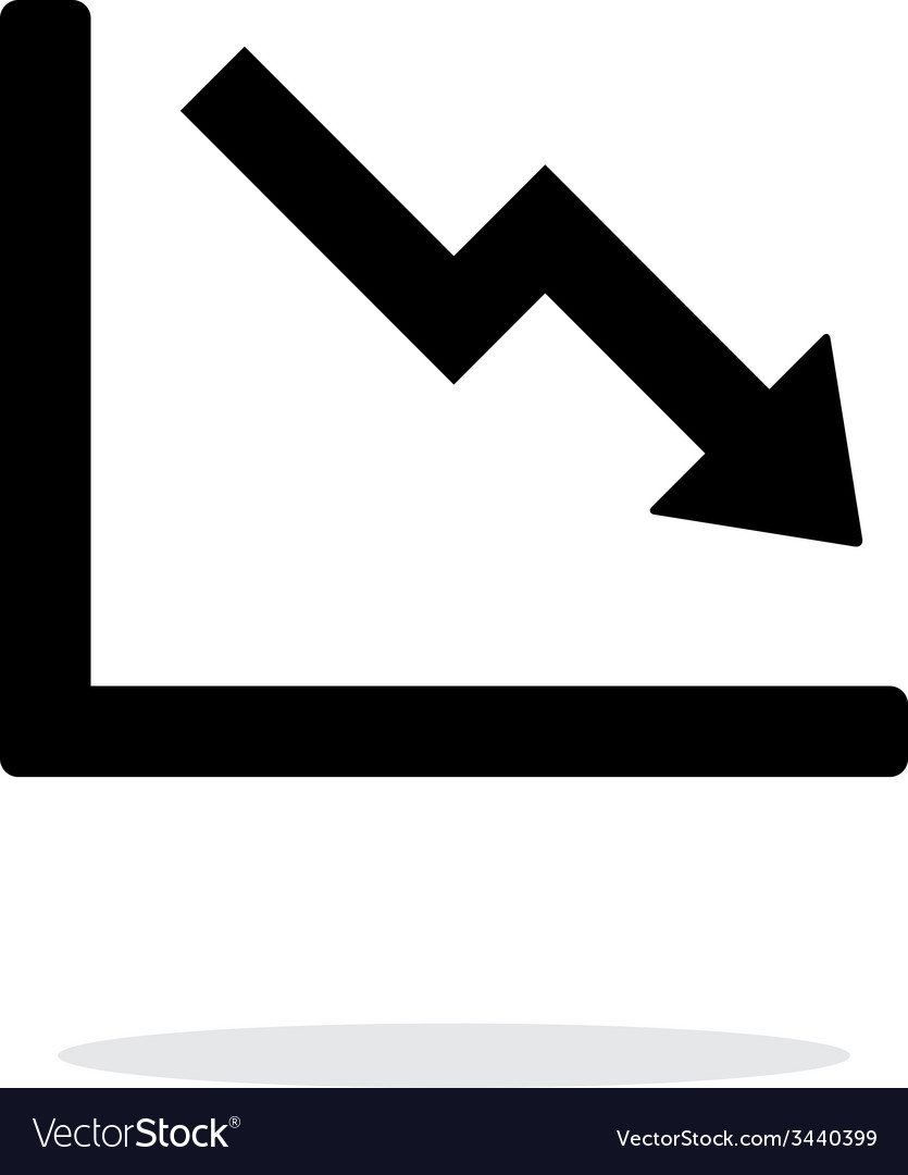 Chart down icon on white background vector | Price: 1 Credit (USD $1)