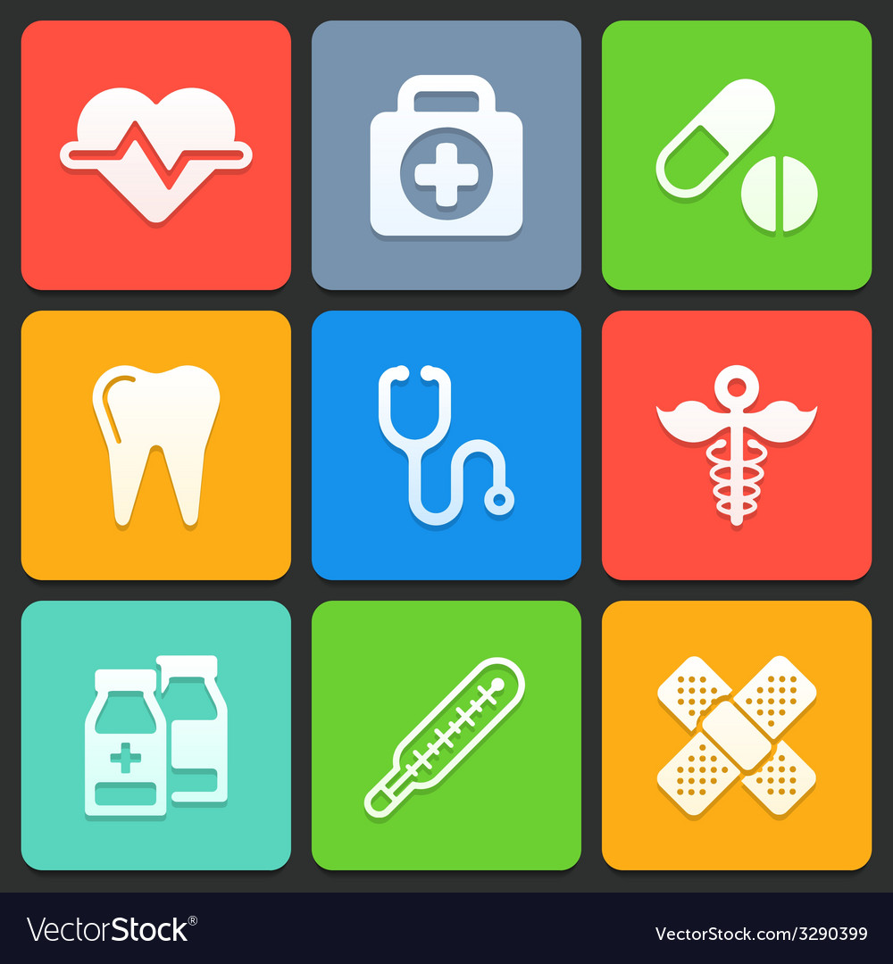 Colorful medical icons for web and mobile vector | Price: 1 Credit (USD $1)