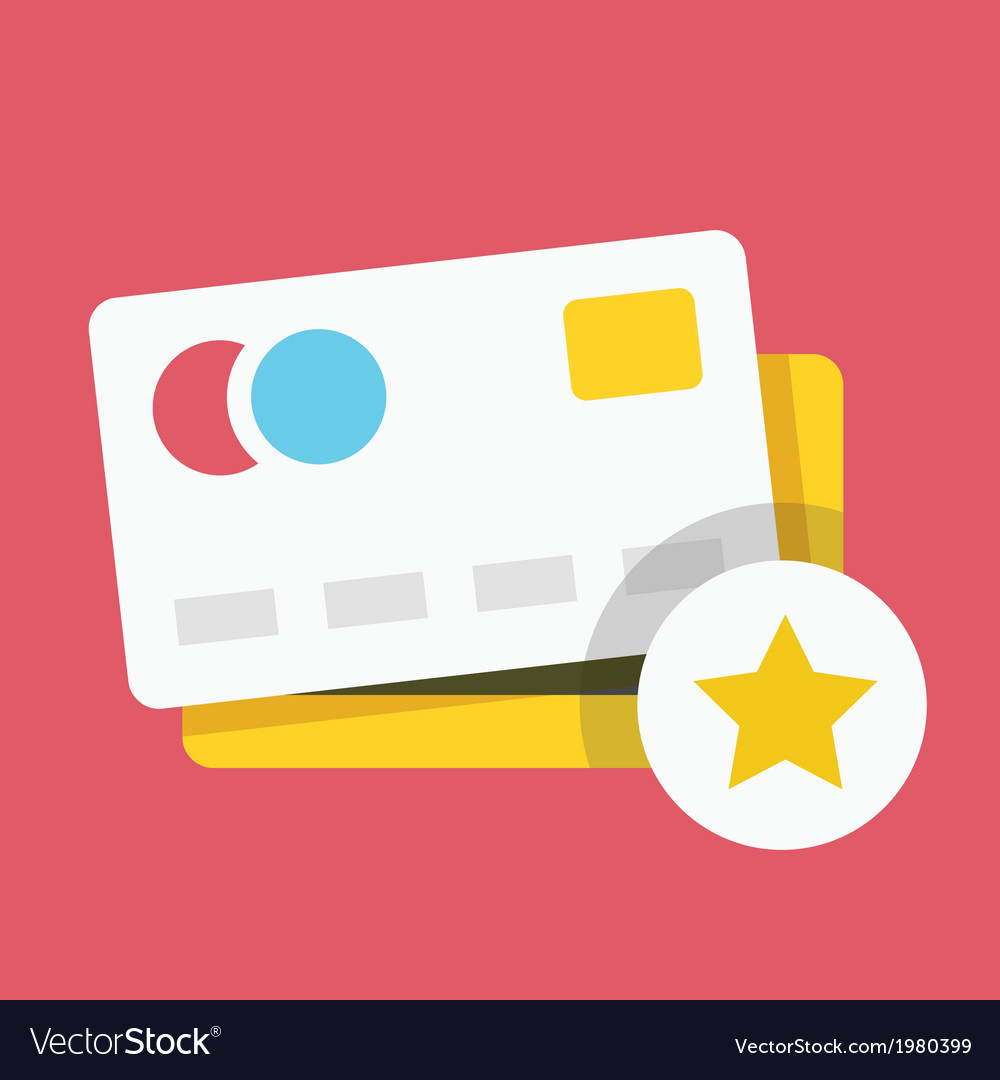 Credit card and star sign icon vector | Price: 1 Credit (USD $1)