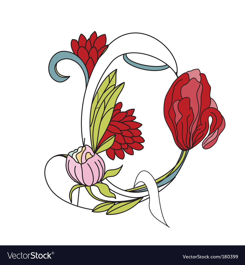 Floral font 2 letter q vector | Price: 1 Credit (USD $1)