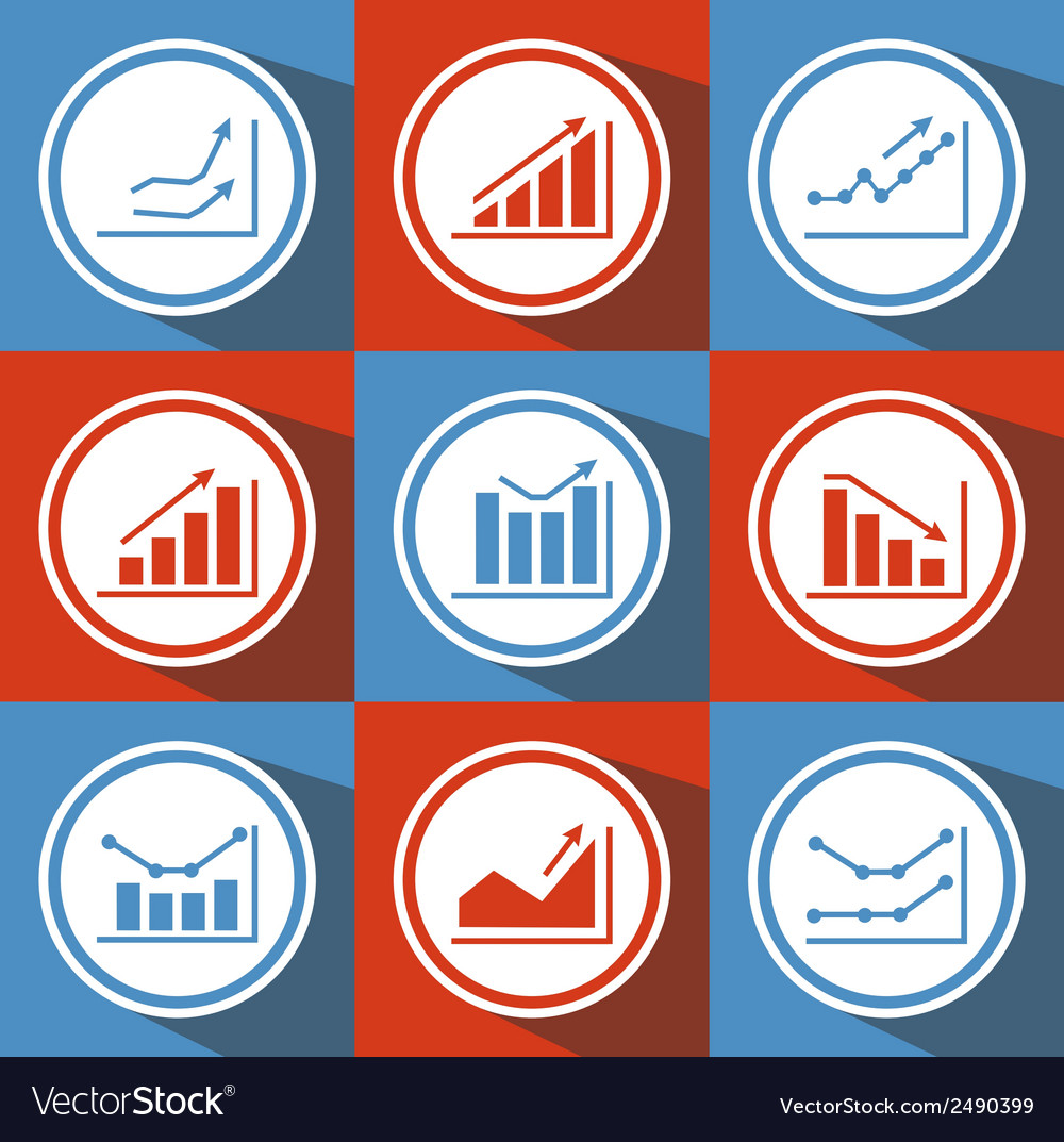 Icons with charts for design vector | Price: 1 Credit (USD $1)