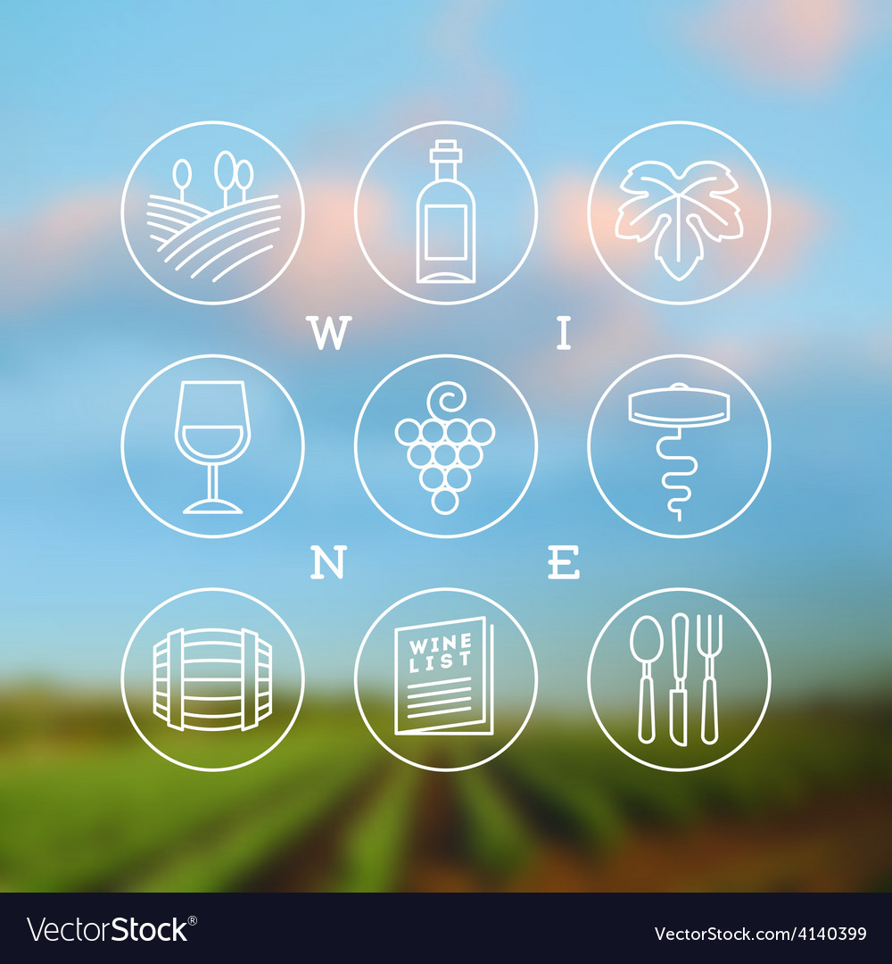 Line drawing set of wine and winemaking icons vector | Price: 1 Credit (USD $1)