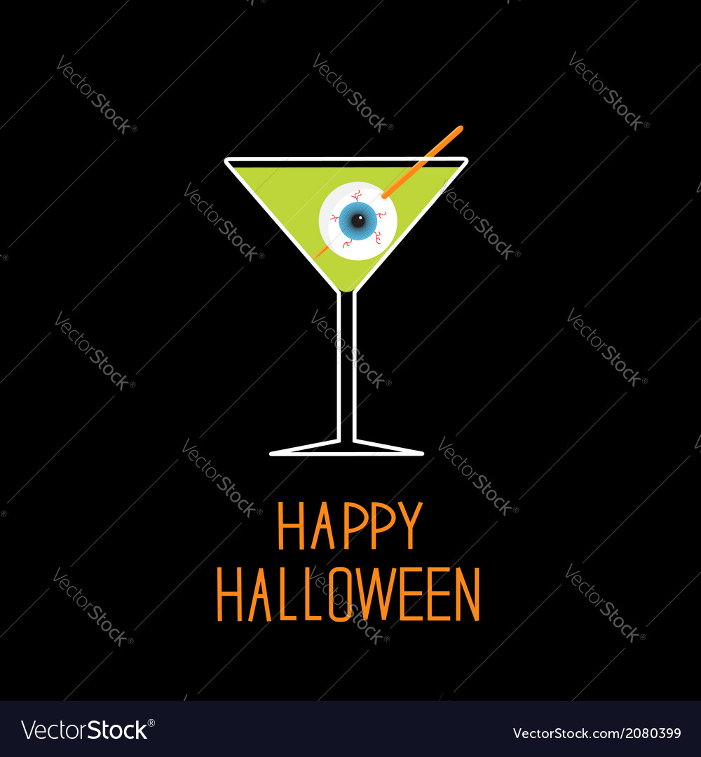 Martini glass with green cocktail and eyeball vector | Price: 1 Credit (USD $1)