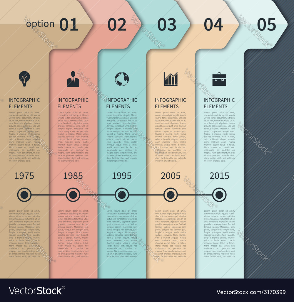 Modern timeline arrow infographics elements vector | Price: 1 Credit (USD $1)