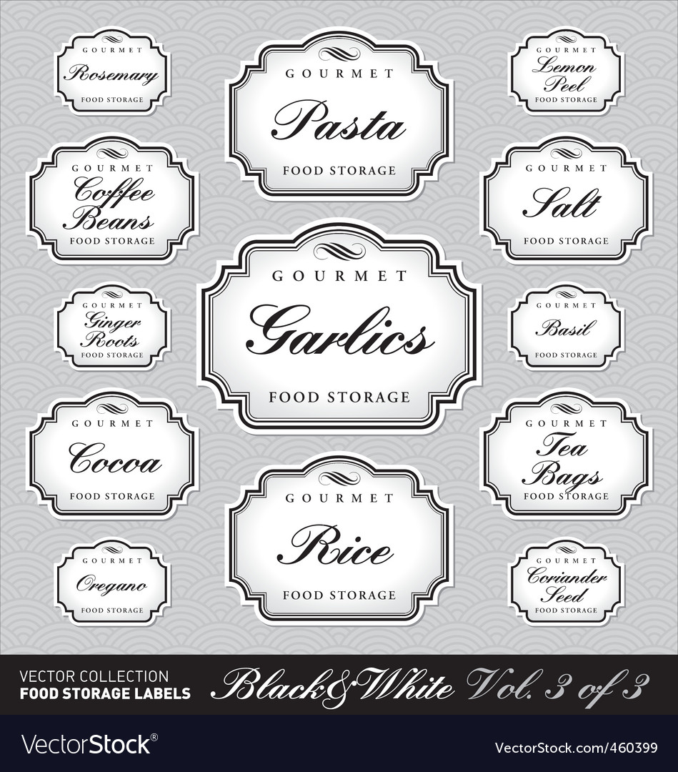 Ornate food storage labels vol3 vector | Price: 1 Credit (USD $1)