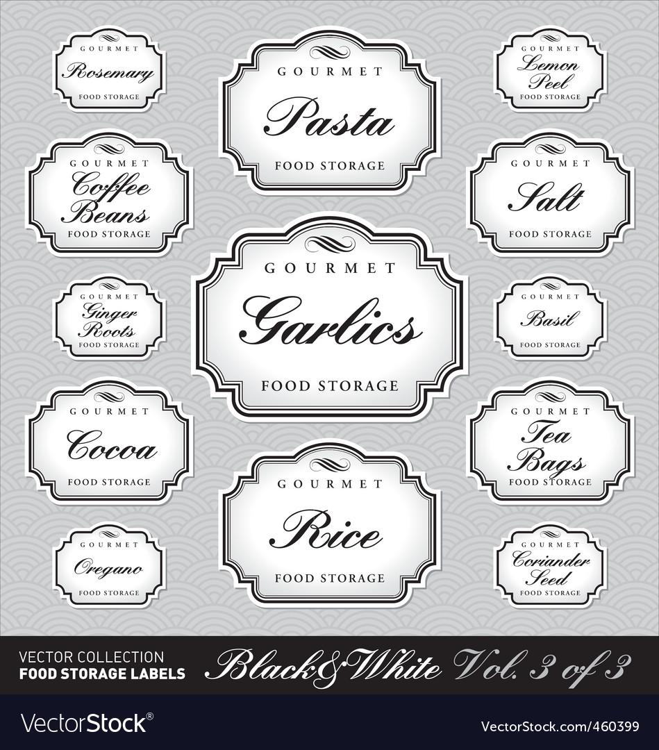 Ornate food storage labels vol3 vector