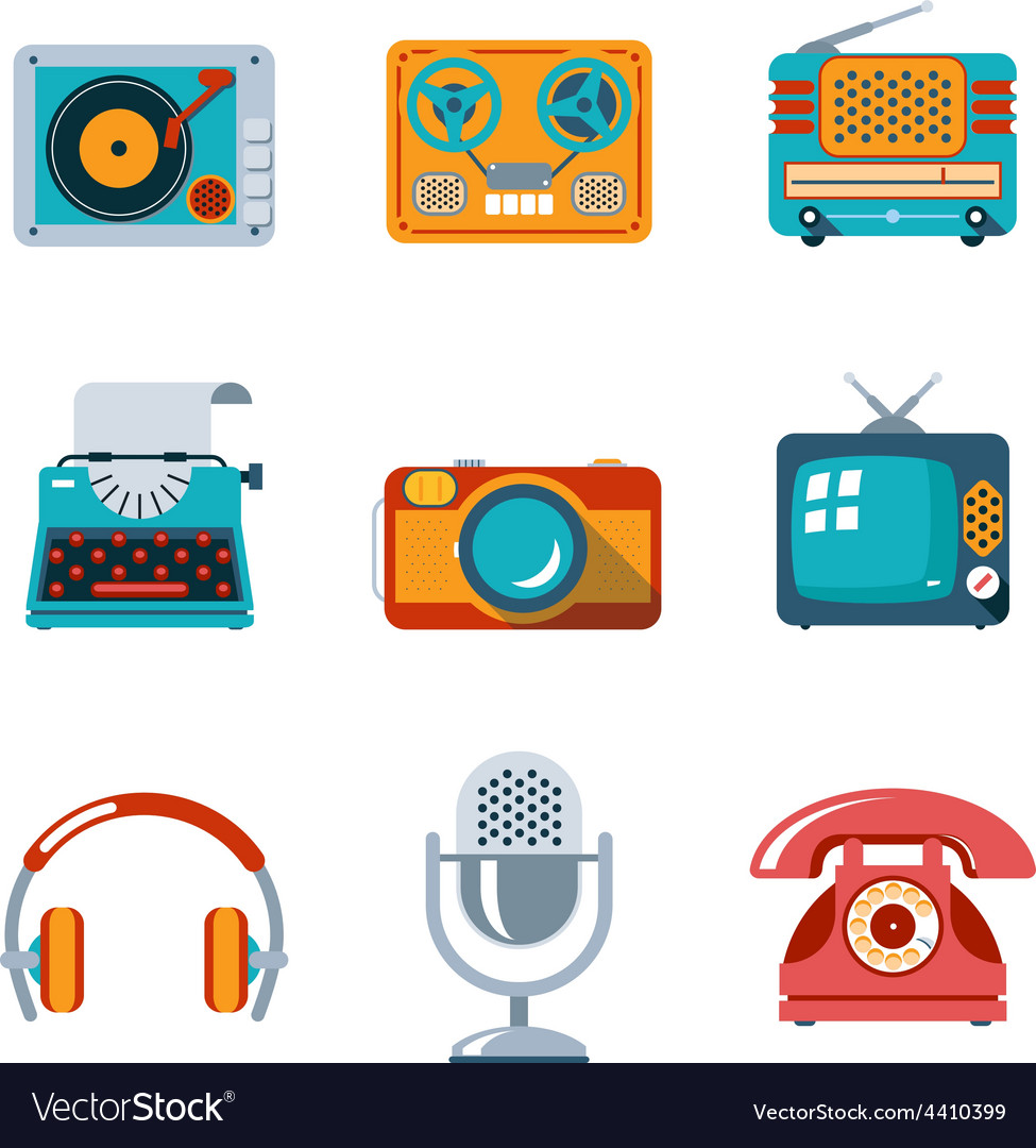 Retro media icons in flat style vector | Price: 1 Credit (USD $1)