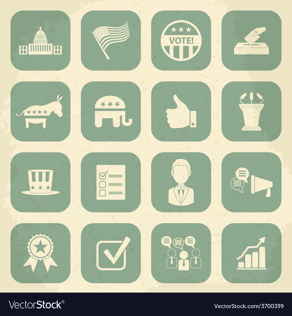 Retro political election campaign icons set vector | Price: 1 Credit (USD $1)