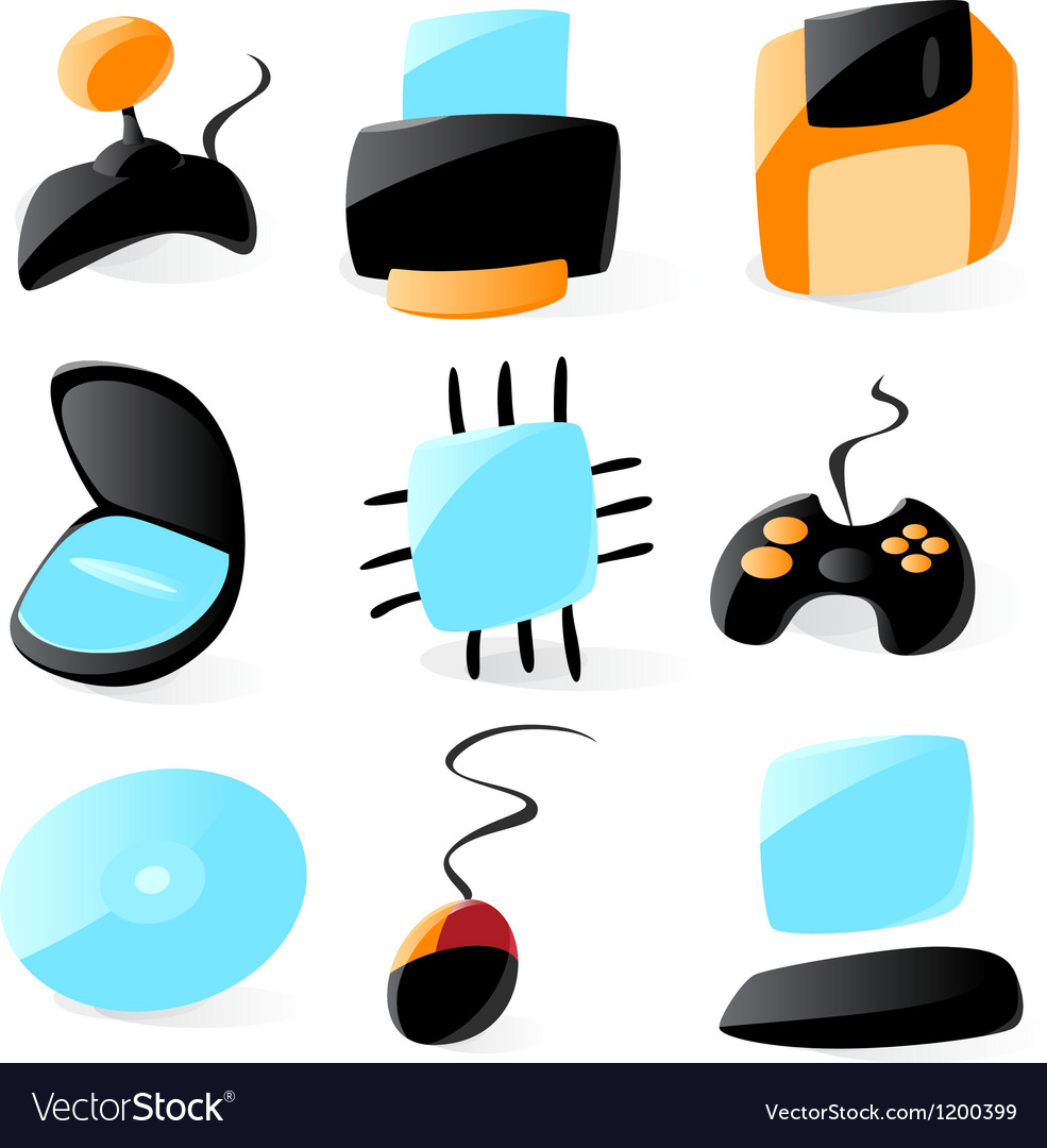 Smooth pc hardware icons vector | Price: 1 Credit (USD $1)