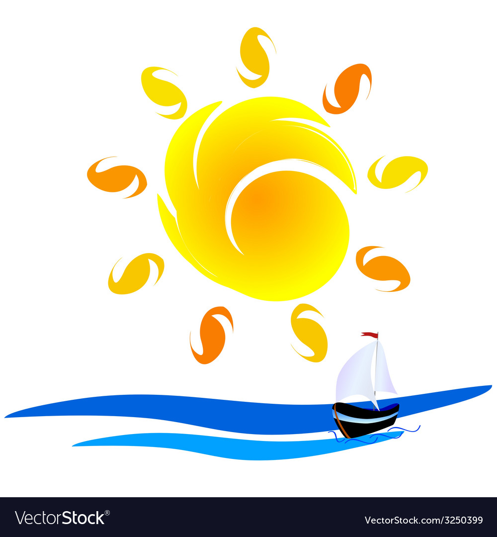 Sun and boat on the sea vector | Price: 1 Credit (USD $1)