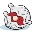 Cartoon oyster with pearl vector