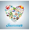 Love heart summer holiday design set vector