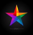 Origami rainbow star from paper on black vector