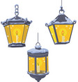 Vintage street lanterns in the snow vector