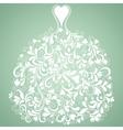 White wedding dress vintage silhouette vector