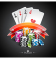 Casino with color playing chips vector