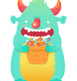 Funny smiling halloween fluffy monster character vector