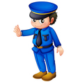 A police officer with a complete blue inform vector