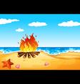 A campfire at the beach vector