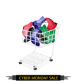 Women shoes in cyber monday shopping cart vector