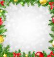 Christmas fir tree border with bokeh vector