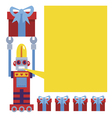 Retro robot with gift greetings card vector