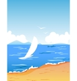 Tropic beach with boat vector