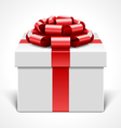 Gift box with red bow isolated on white vector