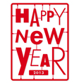 Happy new year card typography letters type font vector