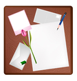 Pencil and picture frame on blank page and letter vector