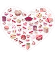 Stylized pink heart made of gift boxes vector