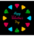 Colorful diamonds circle valentines day card vector