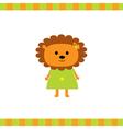 Cartoon lion girl card vector