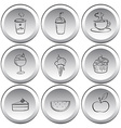 Icons with foods and drinks vector