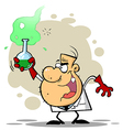 Crazy scientist holds bubbling beaker of chemicals vector