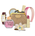 Purse with accessories vector