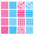 Set of fabric textures in pink and blue colors - s vector