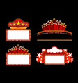 Retro illuminated movie marquee blank sign vector