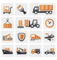Logistic and shipping icon set vector