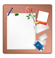 Pencil and red rose on a blank page with envelope vector