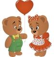 Cute bears with heart vector