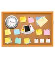 Clock office supplies on brown desk horiz vector
